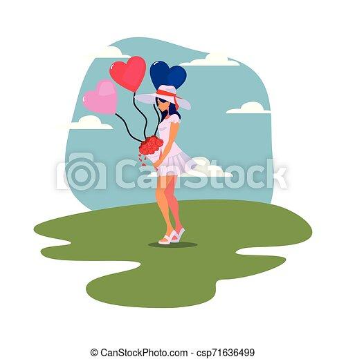 Schöne Frau mit Ballonherzen - csp71636499