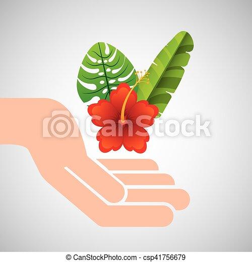Hand halten schöne Blume rote Lilie mit tropischem Urlaub - csp41756679