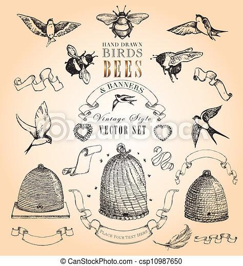 Schöne Vögel, Bienen und Banner - csp10987650