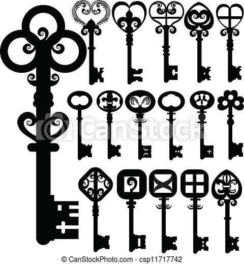 schlüssel, altes , silhouetten, vektor, design - csp11717742