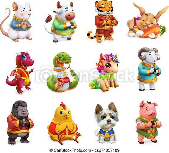 schlange, tierkreis, chinesisches , tier, ikone, satz, pig., 3d, feuerdrachen, vektor, kalender, schafe, lustiges, tiger, ochse, hund, affe, hahn, kanninchen, pferd, ratte - csp74057189