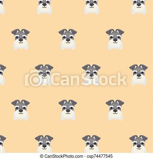 schnauzer, reizend, seamless, muster, dog., miniatur - csp74477545