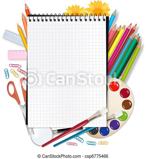 Zurück zur Schule. Notepad mit der Schule - csp6775466