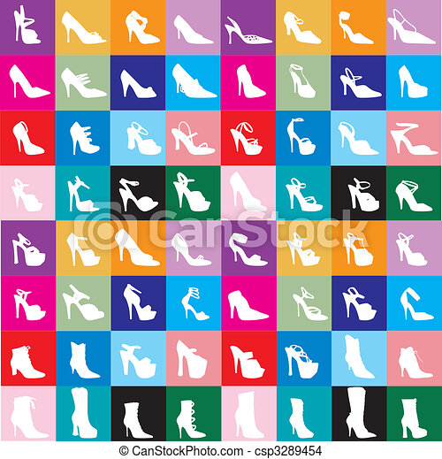 Schuhe, Silhouette 2 - csp3289454