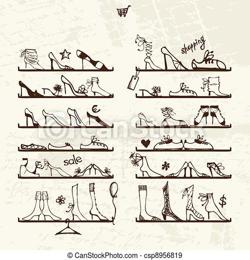 Schuhladen, Stiefel auf Regalen, Skizze für dein Design - csp8956819