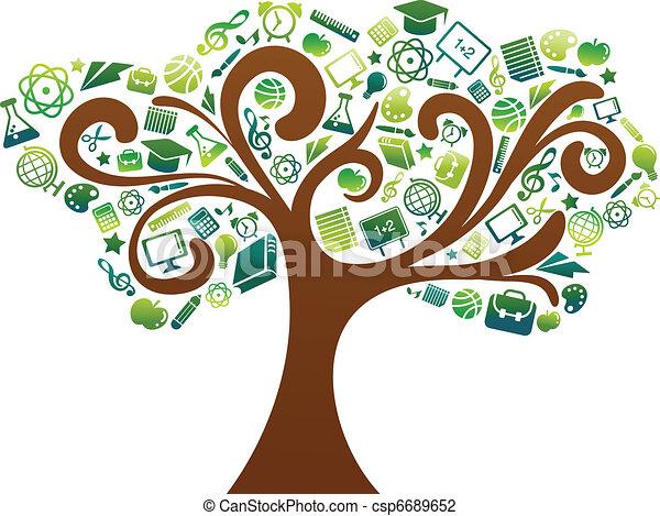 Zurück zur Schule - Baum mit Bildungs-Ikonen - csp6689652
