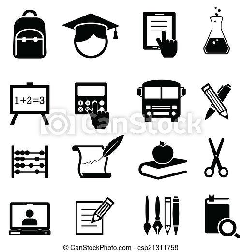 Schule, Lernen und Bildung Ikonen. - csp21311758