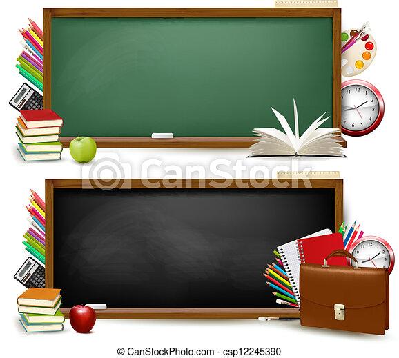 schule, school., zwei, zurück, supplies., vector., banner - csp12245390