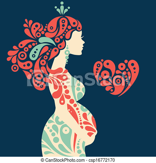 Schwangere Frau Silhouette mit abstrakten dekorativen Blumen und Herzsymbol - csp16772170