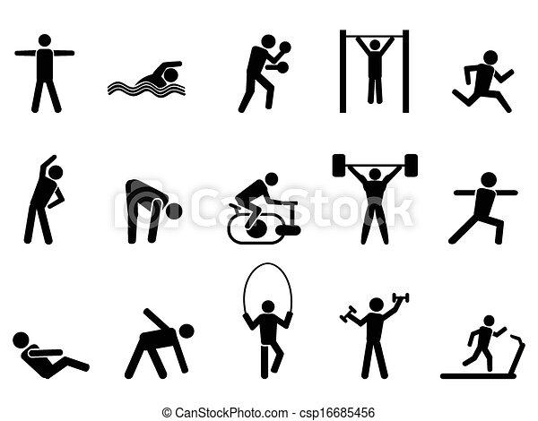 Schwarze Fitness-Mensch-Icons sind eingestellt. - csp16685456