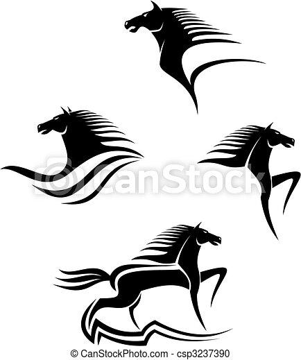 Schwarze Pferde symbolisieren - csp3237390