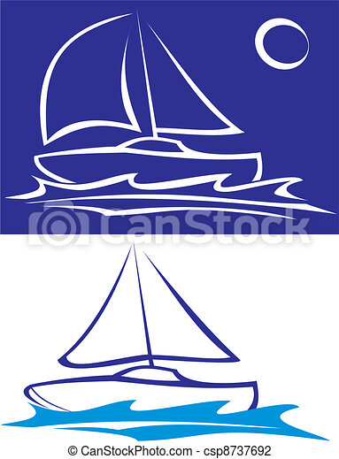 Segelboot - auf dem Meer - csp8737692