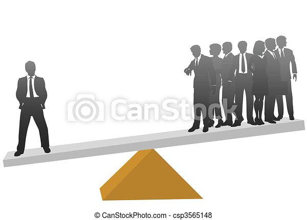 seine, geschaeftswelt, gewicht, viele, arbeiter, eins, wert, mann - csp3565148