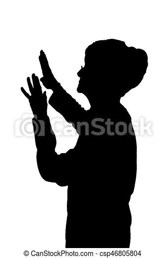 Seitenprofil Portrait Silhouette von älteren Damen Schutz vor Angriff. - csp46805804