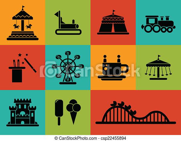 Set von flachen Design Vergnügungspark Icons. - csp22455894