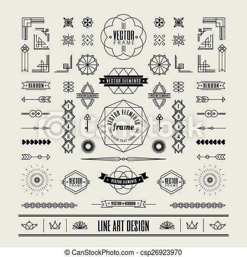 Set von linearen dünnen Linien Art deco retro Vintage Design Elemente mit Rahmenecke. - csp26923970