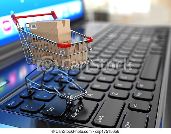 shoppen, laptop., karren, kästen, e-commerce., pappe - csp17515656