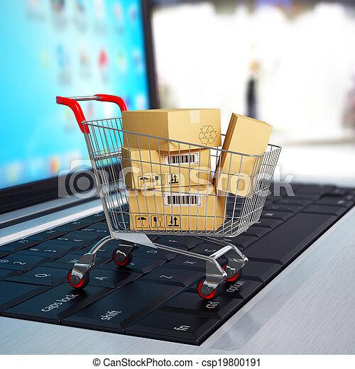 shoppen, laptop., karren, kästen, e-commerce., pappe, 3d - csp19800191