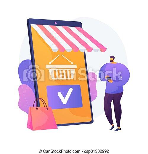 shoppen, vektor, metaphor., app, beweglich, begriff - csp81302992