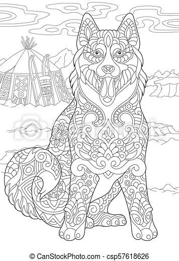 sibirisch, hund, heiser - csp57618626