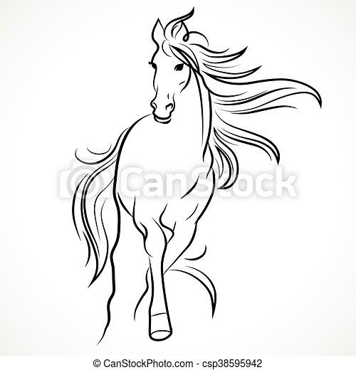 Silhouette des Pferdes - csp38595942