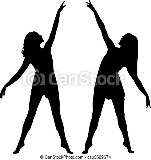 Silhouette-Frauen tanzen - csp3629674