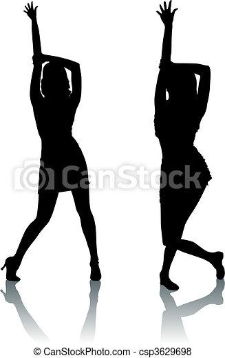 Silhouette-Frauen tanzen - csp3629698