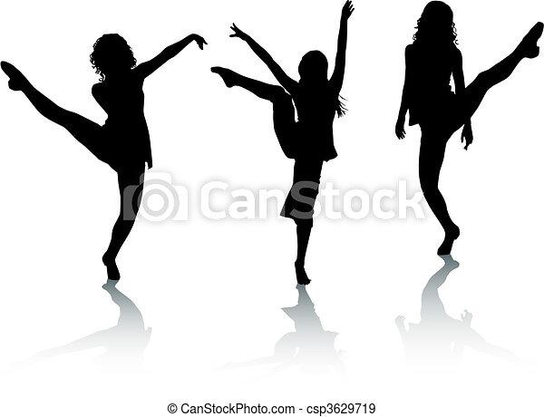 Silhouette-Mädchen tanzen - csp3629719