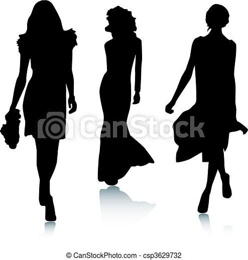 Silhouette Modefrauen - csp3629732