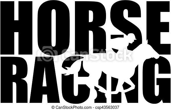 silhouette, rennsport, pferd, wort, freisteller - csp43563037