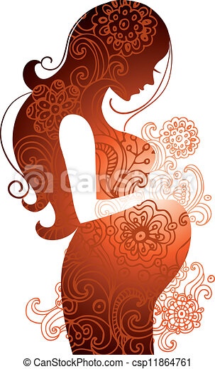 Silhouette schwangerer Frau. - csp11864761