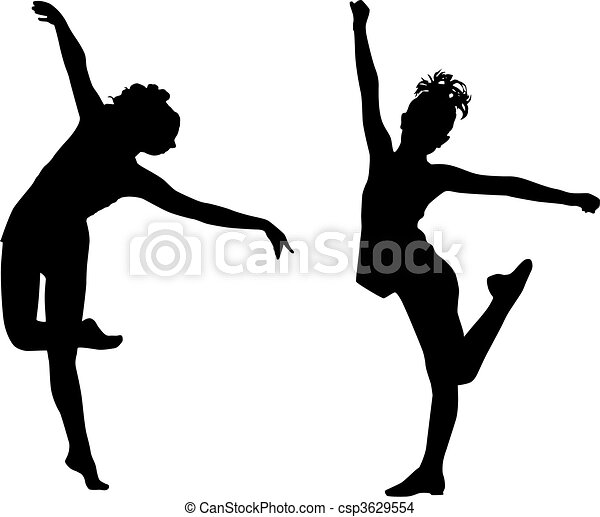 Silhouette tanzende Kinder - csp3629554