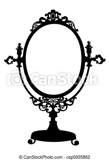 Silhouette von antikem Make-up - csp5935862