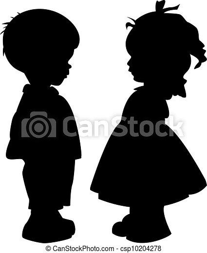 Silhouette von Kindern - csp10204278