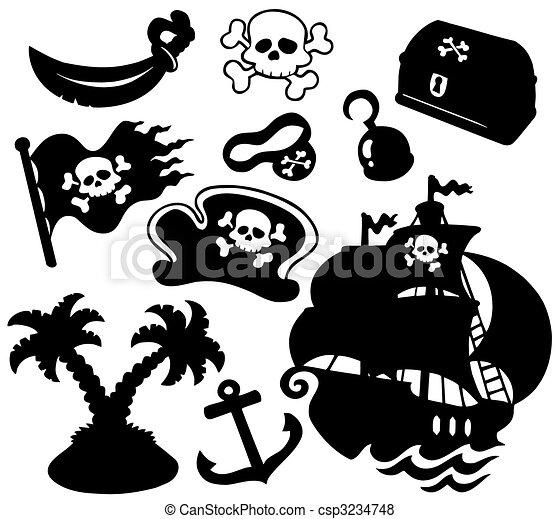 Piratensilhouettes-Sammlung - csp3234748