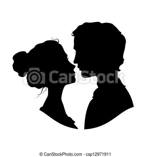 Silhouettes liebendes Paar - csp12971911