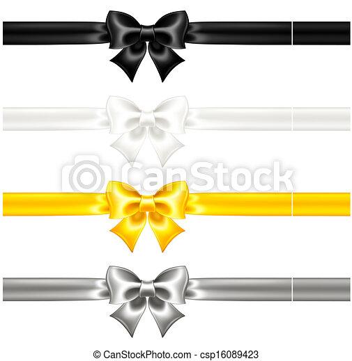 Silk verbogen sich schwarz und Gold mit Bändern - csp16089423