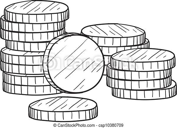 skizze, geldmünzen, stapel - csp10380709