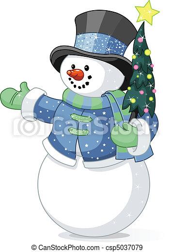 Snowman mit Weihnachtsbaum - csp5037079