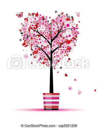 Sommer-Foralbaum, Herzform für dein Design - csp5501206