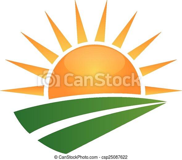 Sun und Green Road Logo - csp25087622