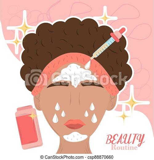 sorgfalt, frau, haut, anwenden, karikatur, routine, schönheit produkte - csp88870660