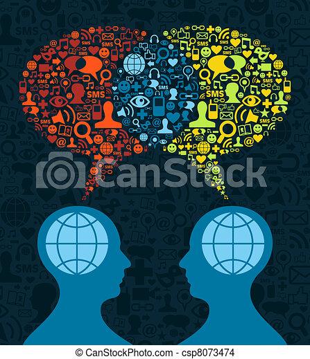 Soziale Medien-Hirnkommunikation - csp8073474
