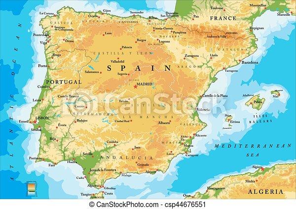 Spaniens physische Karte. - csp44676551