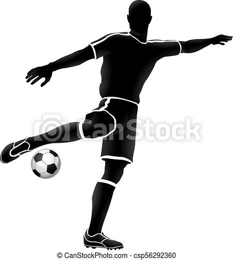 spieler, fußball, silhouette, fußball, sport - csp56292360