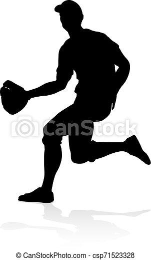 Baseballspieler Silhouette - csp71523328