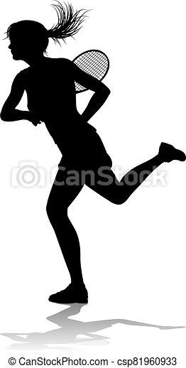 spieler, tennis, frau, sport, silhouette - csp81960933