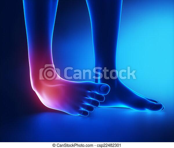 Verstauchte Knöchelblaue Röntgenaufnahme - csp22482301