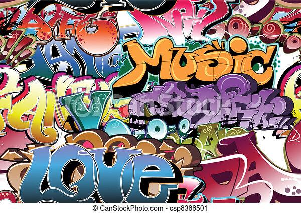 Graffiti urbaner Hintergrund nahtlos - csp8388501