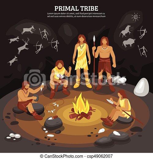 Stammesmenschen illustrieren. - csp49062007